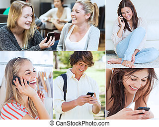 κολάζ , από , άνθρωποι , χρησιμοποιώνταs , δικό τουs , mobil