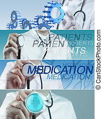 κολάζ , από , διάφορος , μοντέρνος , ιατρικός αντίληψη