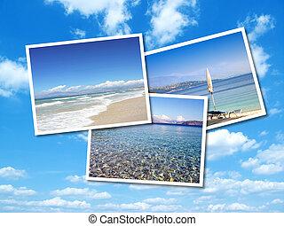 κολάζ , από , καλοκαίρι , παραλία , άγαλμα