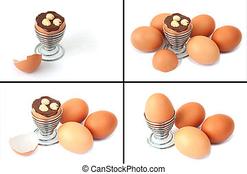 κολάζ , από , 4 , άγαλμα , από , easter αβγό , με , σοκολάτα