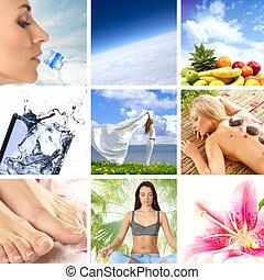 κολάζ , ιαματική πηγή , υγεία