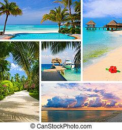 κολάζ , καλοκαίρι , άγαλμα , μαλβίδες , παραλία