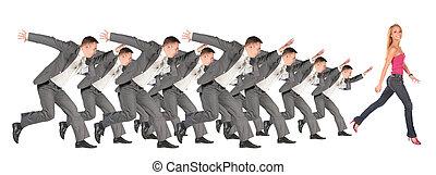 κολάζ , κορίτσι , τρέξιμο , businessmen