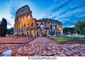 κολοσσαίο , λυκόφως , διακοσμώ με φώτα , ρώμη
