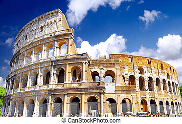 κολοσσαίο, φημισμένος, διακριτικό σημείο, ρώμη, κόσμοs