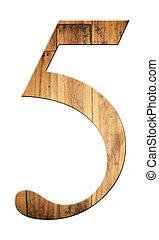 κολυμβύθρα , από , αριθμητική 5 , με , textured , wooden.