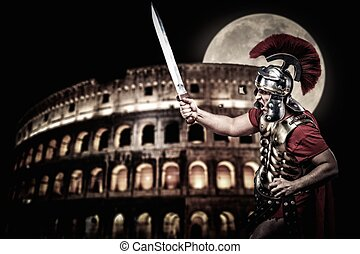 κολόσαιο , ώρα , legionary, στρατιώτης , ρωμαϊκός , νύκτα , ...