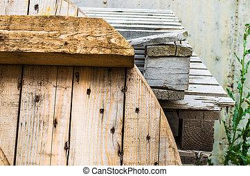 κομματάκι , ξύλο , για , ανακύκλωση
