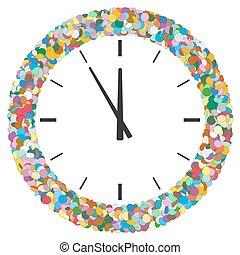 κομφετί , γεμάτος χρώμα , αφαιρώ , στρογγυλός , κορνίζα , ρολόι , αγωνιστική κατάσταση , σύμβολο