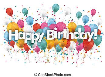 κομφετί , μπαλόνι , ευτυχισμένα γεννέθλια