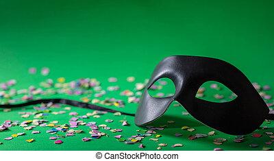 κομφετί , πράσινο , μάσκα , φόντο , καρναβάλι