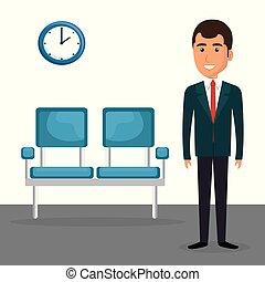κομψός , αίθουσα αναμονής , επιχειρηματίας