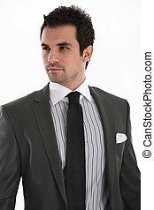 κομψός , ωραία , άντραs , κουστούμι