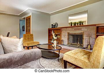 κομψός , fireplace., δωμάτιο , ζούμε