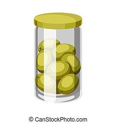 κονσερβοποιημένος , γυαλί , olives., βάζο
