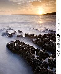 κοράλι , ηλιοβασίλεμα , ακτογραμμή , ύφαλος