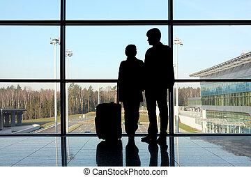 κορίτσι , άντραs , παράθυρο , ακάθιστος , αεροδρόμιο , αποσκευέs , περίγραμμα