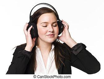 κορίτσι , ακούω αναφορικά σε ευχάριστος ήχος
