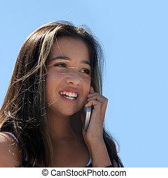 κορίτσι , αναμμένος άρθρο τηλέφωνο