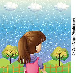 κορίτσι , ανταμοιβή , δέντρα , αγρυπνία