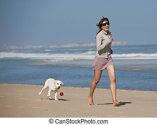 κορίτσι , αυτήν , χαριτωμένος , σκύλοs