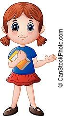 κορίτσι , βιβλίο , γελοιογραφία , κράτημα