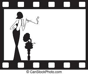 κορίτσι , γριά , retro , φόντο , γραμμόφωνο