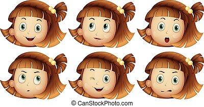 κορίτσι , διαφορετικός , αναφερόμενος στο πρόσωπο αναπαράσταση