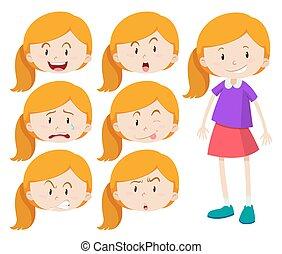 κορίτσι , διαφορετικός , εκφράσεις