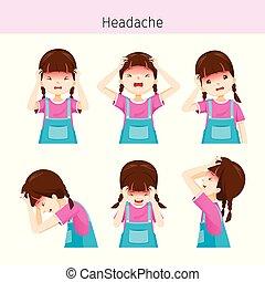 κορίτσι , διαφορετικός , ενέργειες , πονοκέφαλοs