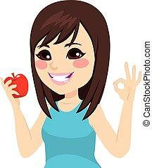 κορίτσι , εγκρίνω , μήλο