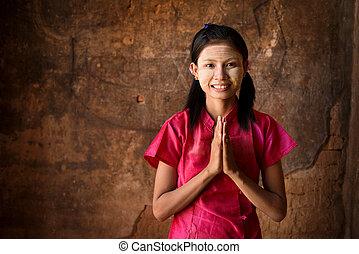 κορίτσι , εκλιπαρώ , νέος , myanmar
