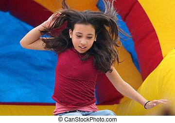 κορίτσι , επάνω , παιδική χαρά