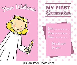 κορίτσι , επαφή , κάρτα , πρώτα