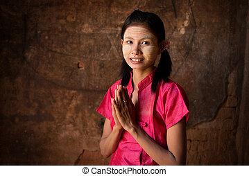 κορίτσι , ευλογία , νέος , myanmar