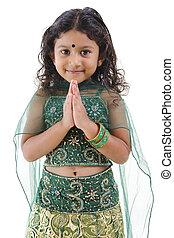 κορίτσι , ινδός , χαιρετισμός