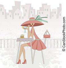 κορίτσι , καφετέρια