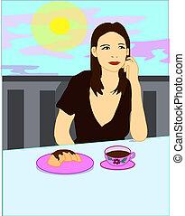 κορίτσι , καφετέρια , κάθονται