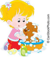κορίτσι , κουτάβι , πλύση