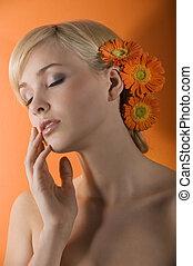 κορίτσι , λουλούδι , ονειρεύομαι