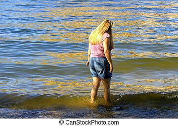 κορίτσι , μέσα , νερό