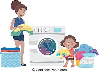 κορίτσι , μαμά , εικόνα , βοήθεια , ρούχα , παιδί , πλύση