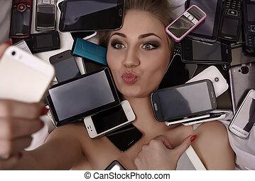 κορίτσι , μούρλια , concept., selfie, ψηφιακός , ελκυστικός...