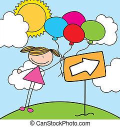 κορίτσι , μπαλόνι
