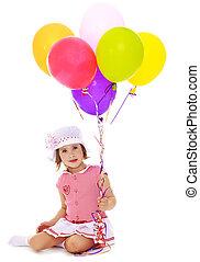 κορίτσι, μπαλόνι, κράτημα