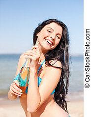κορίτσι , πίνω , παραλία , μπουκάλι