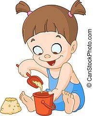 κορίτσι , παίξιμο , άμμοs