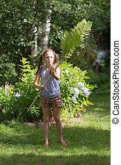 κορίτσι , παίξιμο , κήπος