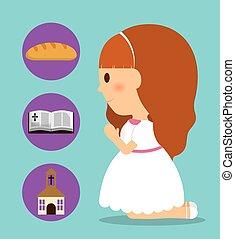 κορίτσι , παιδί , γελοιογραφία , bread, άγια γραφή , εκκλησία , icon., μικροβιοφορέας , γραφικός
