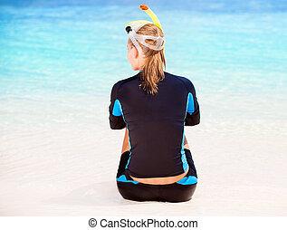 κορίτσι , παραλία , ατάραχα , δύτης